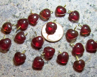 10mm Red Glass Hearts with Brass Loops- Pressed glass charms from India