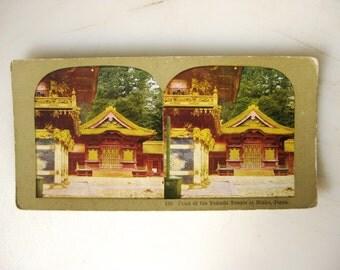Yakushi Temple, Vintage Stereoscope, Nikko Japan Turn of the Century