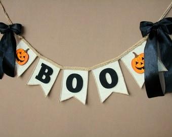 Boo Banner, Happy Halloween, Halloween Banner, Fall Banner, Autumn Banner, BOO!, Halloween Decorations, Halloween Decor, Boo Sign, Burlap