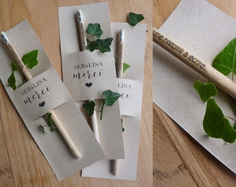 """set of 50 Wedding guest gifts - pencil ' stories to write"""