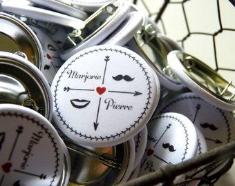 45 badges wedding - diameter 32mm