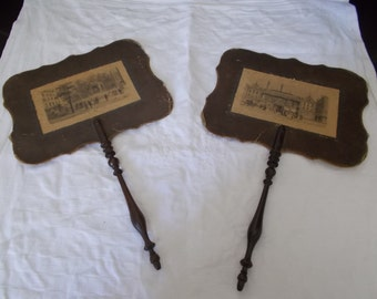 Pair of Antique French turned Walnut face fire screen.  Georgian Ladies Face Fire Guard. 1830's Face Fire Screen.