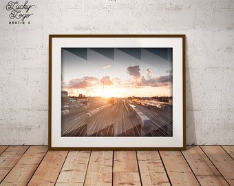 Trains & Triangles Geometric Abstract Photography Digital Art Print 8x10 High Resolution Digital Download Home Decor - Office Decor-Wall Art