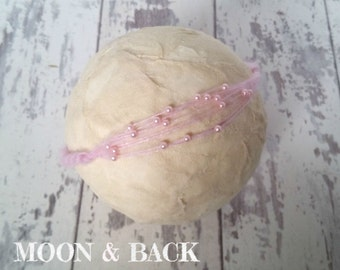 Handmade Baby Pink Mohair Tieback Headband with Pearl Spray Newborn Baby Photo Photography Prop