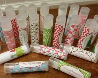Christmas Classroom Treats! Personalized Lip Balms All Natural 5 Flavors