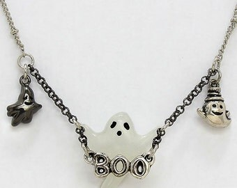 Ghost Pendant Necklace and Earrings