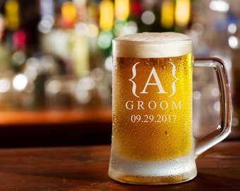 Personalized Beer Mug - 25oz. Beer Glass / Groomsmen Gifts / Etched Mug / Engraved / Etched Glass Beer Mug / Custom / Select ANY Quantity