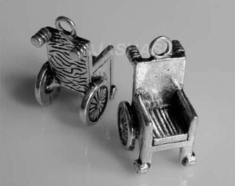 3 Wheelchair Hospital Illness Tibetan Silver Charms (176)