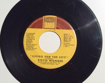 Stevie Wonder Living In The City and Visions Vintage Vinyl 45 Record Album 1973