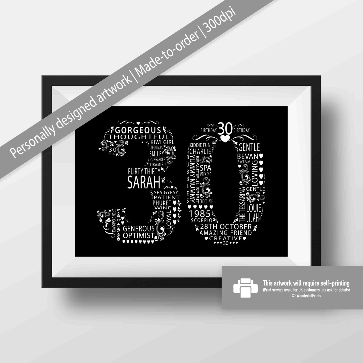 30th Birthday Gift For Women / Gift For Her / Personalised