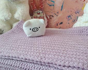 Hand knitted light violet baby blanket