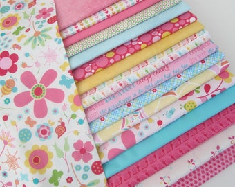 Riley Blake 100% Cotton Novelty Quilt Craft Fabric 17 Fat Quarters Bundle for Children Girls Pink Blue Yellow