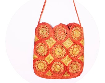 70's Orange and Yellow Flower Woven Bag