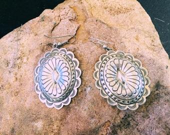 Native American handmade silver earrings