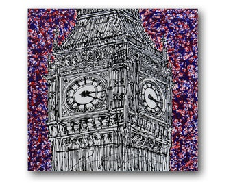 """London Painting, Abstract Textured Painting, Textured Canvas Art, Black and White Painting, Big Ben, """"Westminster"""" 24x24"""" by SFBFineArt"""