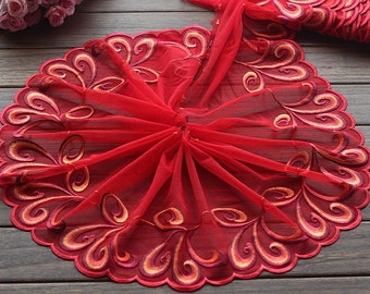 High Quality Red Floral Embroidered Lace Trim  Tulle Lace Trim 9.05 Inches Wide 2 yards X0141