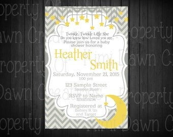 Twinkle Little Star Baby Shower invitation. Digital delivery