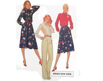 1980s woman blouse skirt & pants pattern, McCall's 7721, size 12, designer Jones New York, pleated skirt, high-waisted pants, UNCUT