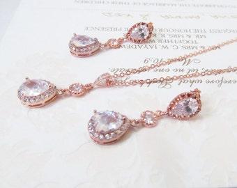 Rose Gold Bridal Jewelry Set ,bridal rose gold jewelry set, crystal earrings, rose gold wedding earrings, rose gold jewelry,