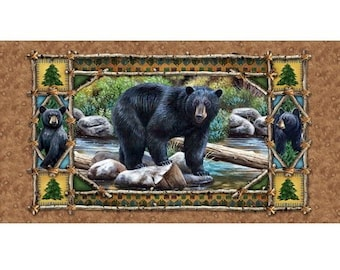 """24"""" x 44"""" Bear Country Panel from Quilting Treasures by the panel"""