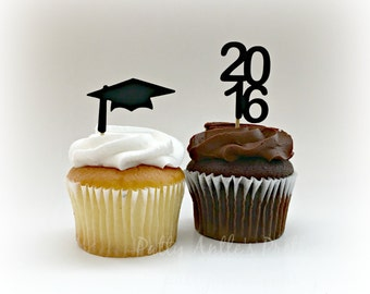 Graduation Cupcake Toppers, 2016 Cupcake Topper, Graduation Cap Cupcake Topper, Mortar Board Cupcake Topper