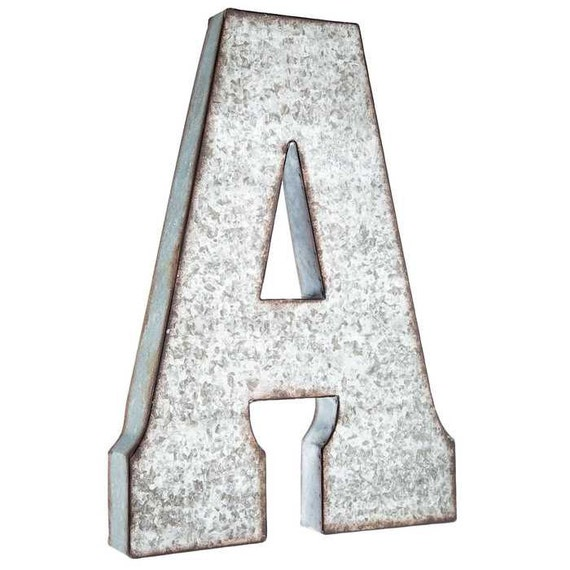 Galvanized Metal Letters, Large 20 inch letter, vintage, distressed ...