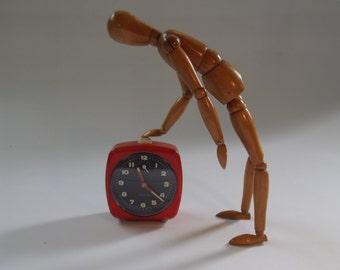 vintage orange alarm clock, Velona - made in Germany