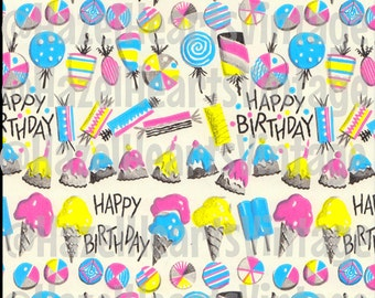 Vintage Birthday Wrapping Paper, Ice Cream, Cupcakes, Ice Pops, Popciscles, Mid Century Modern, Kitsch, Pink, Blue, Yellow, Vibrant