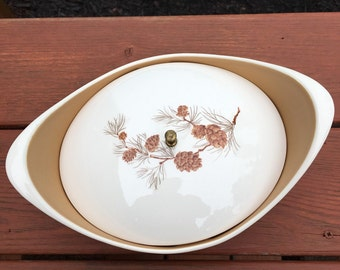 Taylor Smith & Taylor ~ Pinecone Pattern ~ Covered Casserole Bowl ~ 1950's Vintage