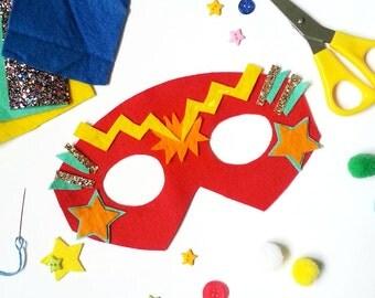 Superhero mask making kit- make a superhero- design a superhero- superhero costume- craft kits- diy craft