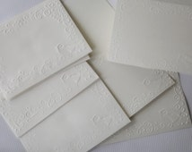 4 Embossed Note Cards/ Embossed Envelopes/ Birds and Swirls/Stationery/ Gift Item/ Personal/ A2 Card Set/ White/ 4 Each/ kyleskollections