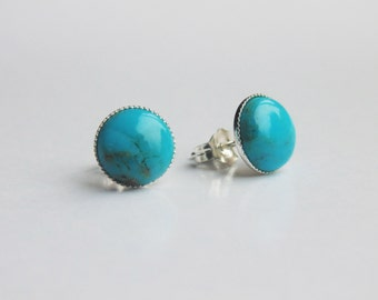 Blue turquoise gemstone 8mm round studs 925 sterling silver earrings
