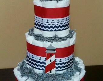 Three tier anchor diaper cake, nautical diaper cake, light house diaper cake, red and blue diaper cake