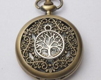 Tree of Life Pocket Watch, Tree of Life Pocket Watch with Pocket Watch Chain, Tree of Life Pocket Watch Pendant