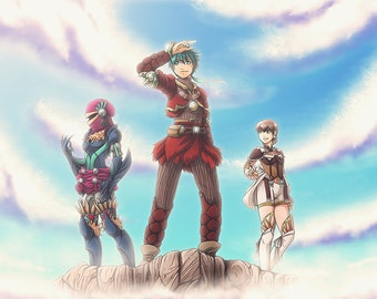 Baten Kaitos Origins poster featuring Sagi, Guillo, and Milly