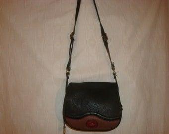 Dark Green/Brown Pebbled Leather Dooney and Bourke Cross Body Bag