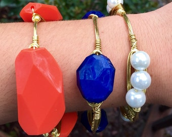 The Auburn Stack, Set of 3 Gold or Silver Wire Wrapped Orange, Blue, and Pearl Beaded Bangle Bauble Bracelets