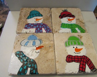 HANDPAINTED SNOWMAN COASTERS, Snowman Collector, Coasters, Christmas Decor, Christmas Coasters, Tumbled Marble