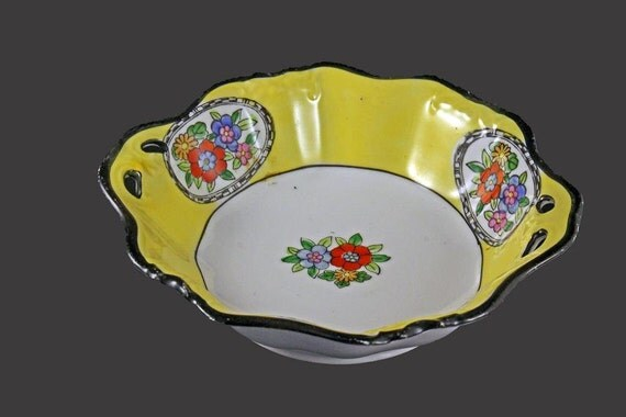 Noritake Handled Bowl, Hand Painted, Noritake China, Made In Japan, Yellow and White