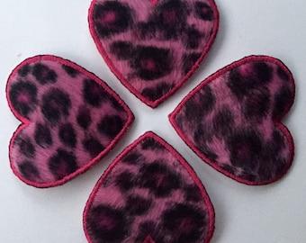 Pink leopard furry heart heat-fix patch appliqué - medium