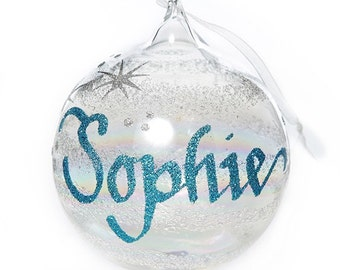 Personalised Rainbow Glass Christmas Bauble - Medium