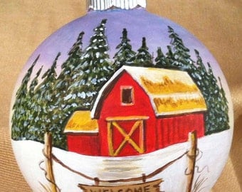 Hand painted red barn/welcome glass ornament