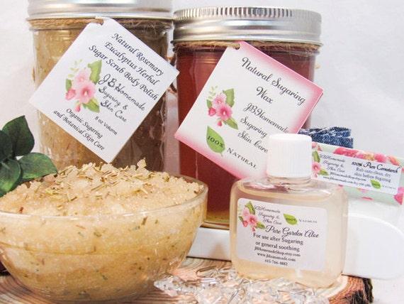 Sugaring Wax & Natural Rosemary Eucalyptus Sugar Scrub Bundle