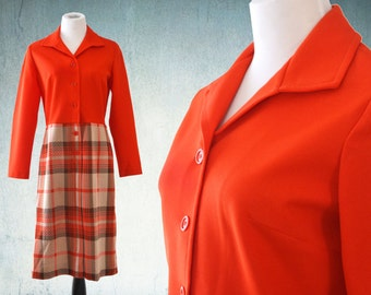 1960s Plaid Skirted Dress Bright Orange Peggy Olson