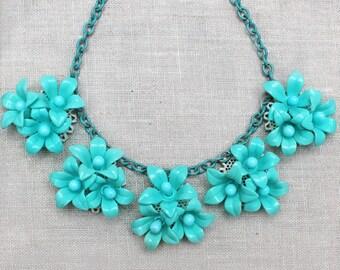 Vintage Plastic, Turquoise, Blue Flower, Pendant, Choker, Necklace