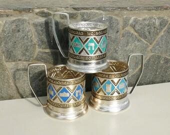 Set of three metal beautiful green, white blue and dark blue color (podstakan) tea cup-holders USSR - Russia, Tableware, Volgograd