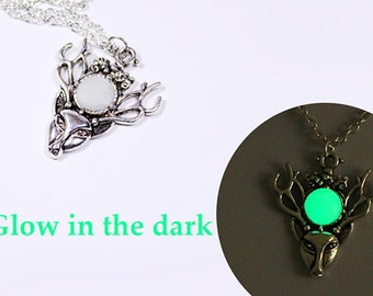 deer pendant green jewelry gift/for/him valentines day small gift/for/her glow in the dark guardian jewelry for him gift/for/boyfriend я5з