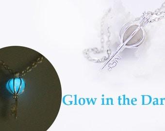 blue necklace key necklace glow in the dark sky blue jewelry wife gift friend aqua jewelry romantic necklace love necklace cute gift Ся08a