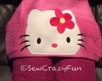 Hello Kitty inspired hooded towel bath, pool or beach