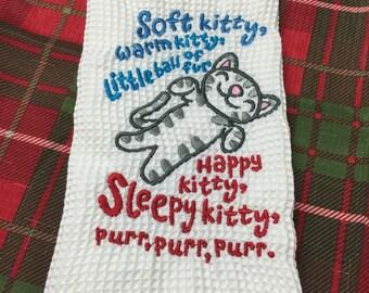 Custom Soft Kitty embroidered hand towel